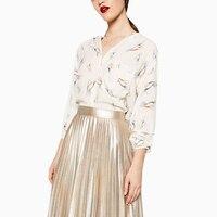 Women Cute Bards Pattern Print Long Sleeve Shirts Blusa Feminina 2016 Autumn Loose Cozy Pockets Blouse