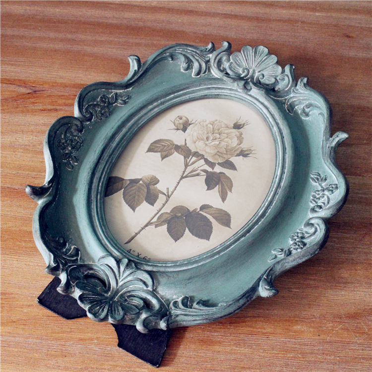 European retro American village style blue oval luxury 6 inch 10 inch photo frame decoration in Frame from Home Garden