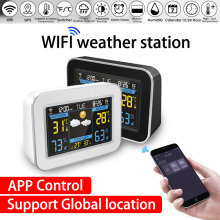 wifi Weather Station Wireless weather station Thermometer Hygrometer forecast Clock LCD Color Screen Display APP Control