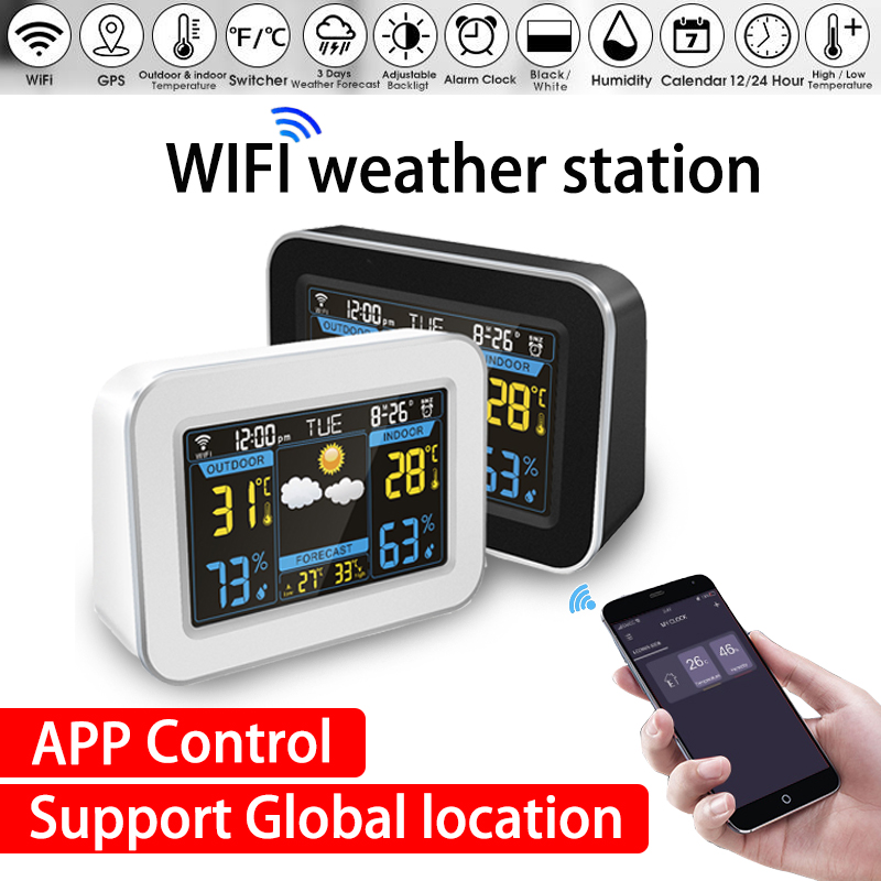 wifi Weather Station Wireless weather station Thermometer Hygrometer weather forecast Clock LCD Color Screen Display APP Control image