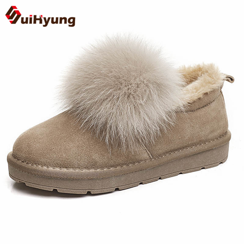 Suihyung Women Snow Boots Real Fur Winter Warm Fleece Cotton Shoes Ankle Low Heel Female Botas Casual Wedges Slip On Suede Boots цена