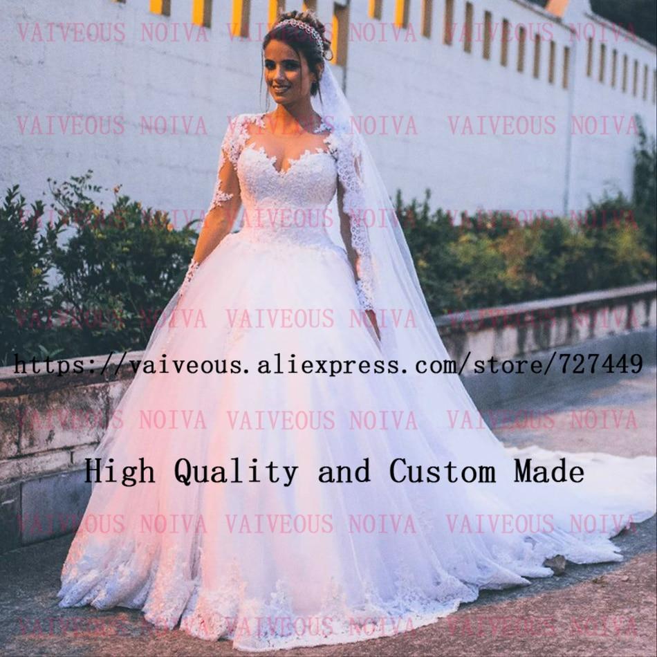 abito da sposa Wedding Gowns Luxury Beaded Lace Appliques Bride Dress Vintage Long Sleeve Wedding Dresses 2019 Vestido de Noiva