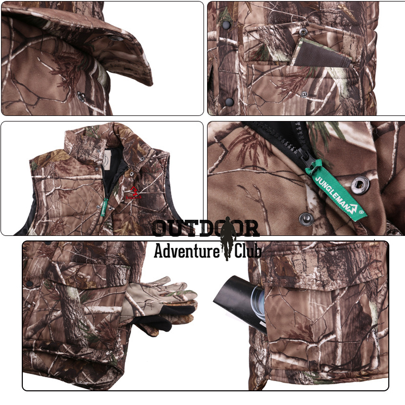Winter Warm Fishing Camouflage Vest Men Thermal Cotton-Padded Forest Outdoor Clothes Sleeveless Thicken Hiking Camping Waistcoat
