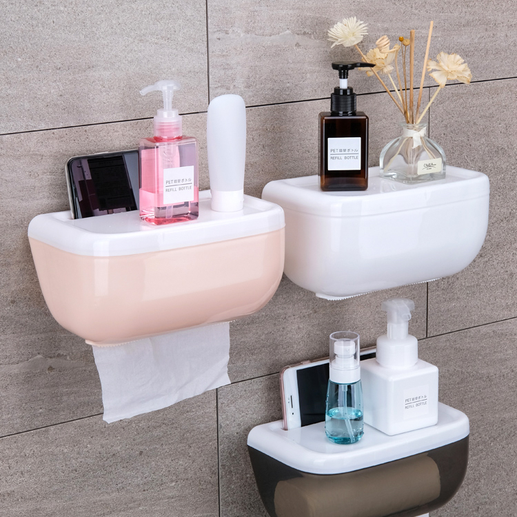 050 Fashion bathroom Oval non trace waterproof towel box mobile phone rack bath room storage rack 23 13 5 12cm in Storage Shelves Racks from Home Garden
