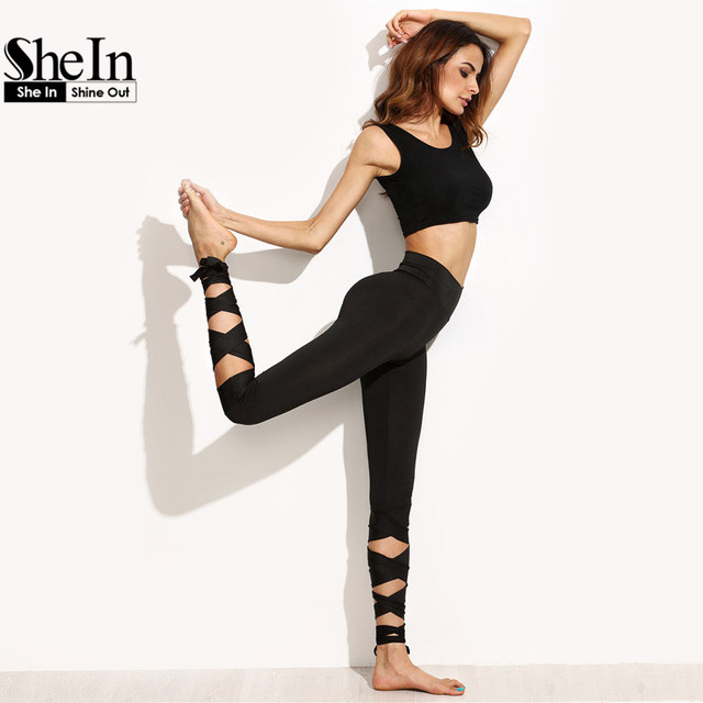New Arrival Womens Plain Black High Waist Wide Waistband Tie Up Skinny Leggings