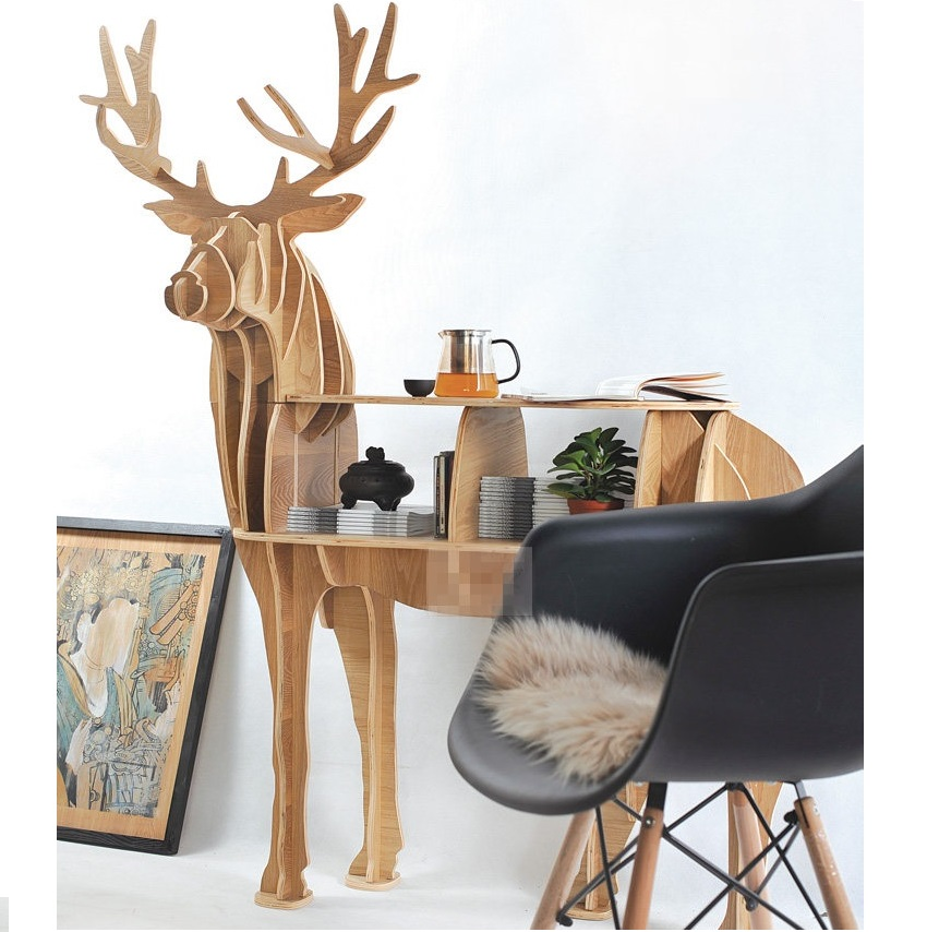 KING I 44.5 Reindeer coffee table wood furniture self-build puzzle furniture factory wholesale european style rhino wood coffee table desk craft gift desk self build puzzle furniture free shipping