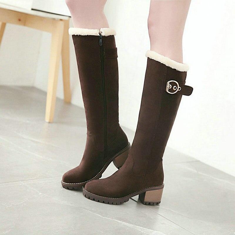 c2ea1c388066 2019 New Female Flock Snow Boots Thick Heel Knee High Boots Platform Zipper  Winter Plush Warm