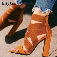 Eilyken Fashion Stretch Fabric Women Sandals Sewing Ankle Wrap Super High Heels Shoes Fashion Summer Ladies Party Pumps Shoes
