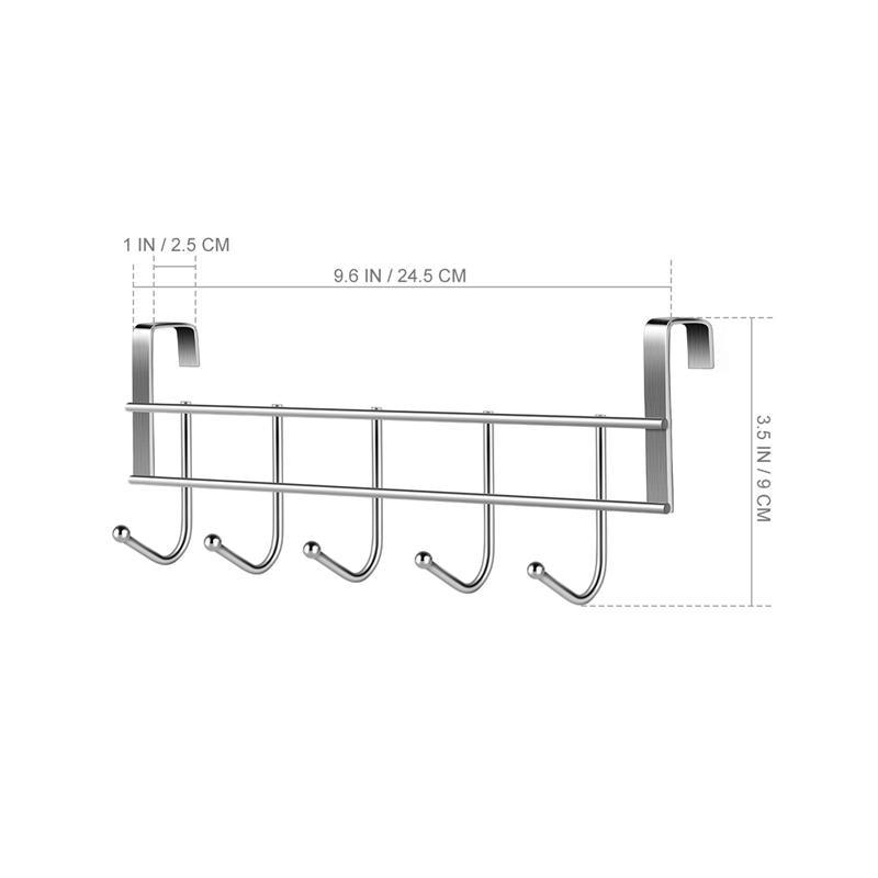 Over The Door 5 Hooks Home Bathroom Organizer Rack Clothes Coat Towel Hanger Stainless Steel Good Load Bearing Wrought 24.5x9cm