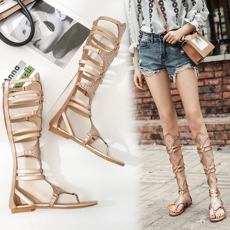 Roman Womens Fashion Flat Knee High Sandals Cut out Gladiator Rhinestone Shoes