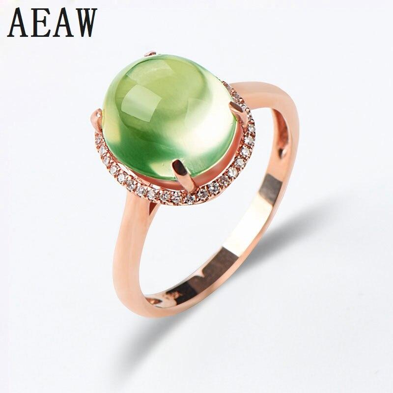 100% Solid 14K Rose Gold Prehnite Ring Oval Shape Setting with Super White Moissanite for Women Wedding Engagement Ring цена