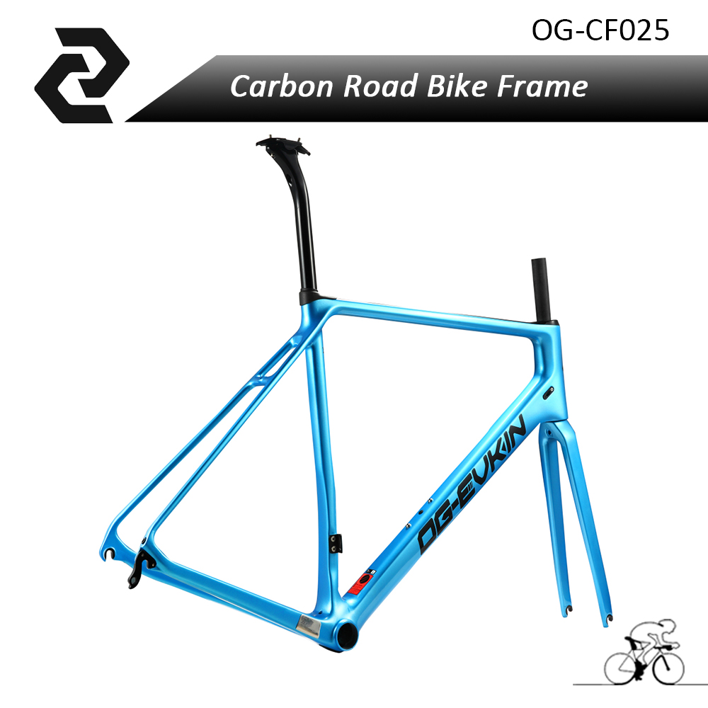 OG-EVKIN 2017 Light Weight Carbon Road Bike Frame+Fork Bicycle Frameset Glossy UD Di2 Velo bici BICICLETTA BB86 2 Years Warranty og evkin carbon road bike aero frame with integrated handlebar bicycle cycling sports parts bb86 di2 max 25mm tire glossy matt
