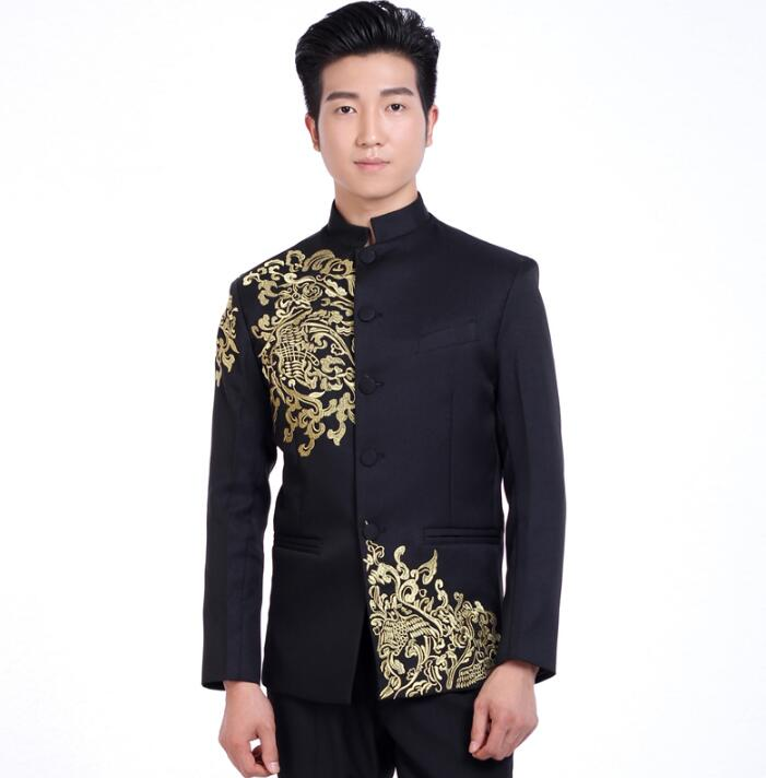 Blazer Men Formal Dress Latest Coat Pant Designs Suit Men Embroidered Chinese Tunic Suit Mens Marriage Wedding Suits For Men's