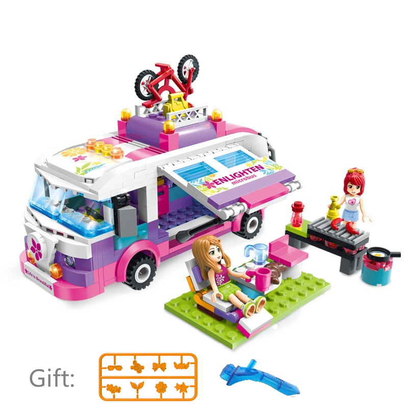 ENLIGHTEN City Girls Princess Outing Bus Car Building Blocks Sets Bricks Model Kids Classic Toys Compatible Legoings Friends