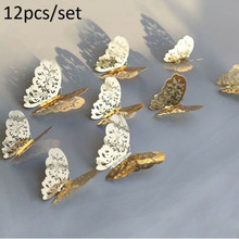 12pcs Butterfly Wall Sticker Silver Gold Color 3D Home Wedding Decoration Decals цена 2017