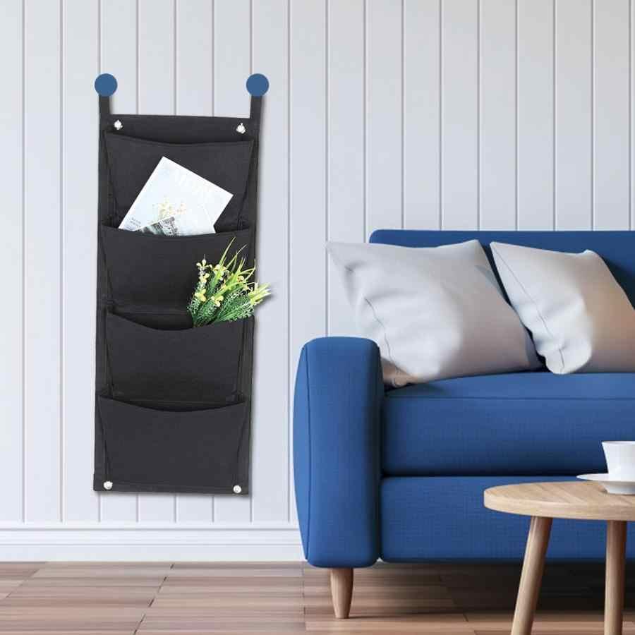 Черная вертикальная садовая сеялка, настенная сумка для выращивания цветов, 4 кармана, садовая сумка, товары для дома 70*30 см