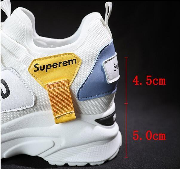 Dama Primavera Zapatillas Blanco Blancos Zapatos De Zapatos Moda Casual Aumento Casuales E490 Transpirable atado Plataforma Mujer 2019 tvqSx