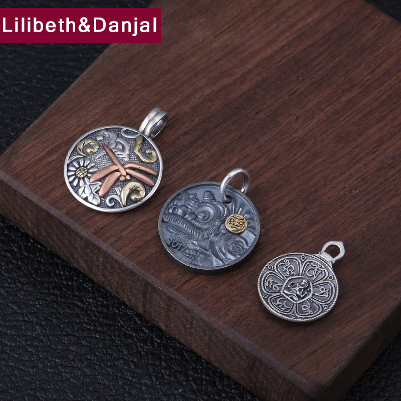 Buddha Pendant 100% 925 Sterling Silver Jewelry Men Women Mantra Dragonfly Brave Troops Necklace Pendant 2018 Christmas Gift P97