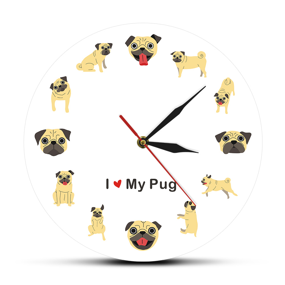 Pug Cartoon Wall Art Modern Wall Clock Puppy Dog Pet Home Decor Pet Store Hanging Wall Watch Printed Timepiece Pug Lover Gift