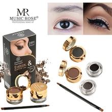 MUSIC ROSE Smooth 2 IN 1 Eyeliner Cream Eyebrow Powder Waterproof Makeup Long Lasting Cosmetics 4pcs/set