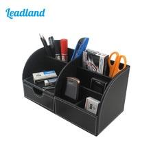 6 Slots Holder PU Leather Office Desk Organizer Desktop Stationery Storage Box Pen Holder Supplies Organizer