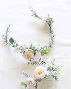 Image 5 - Boho Wedding Hair Accessories Woodland Flower Hair Comb Bridal Headwear Handmade Wedding Jewelry Headpiece Crown Women HD11