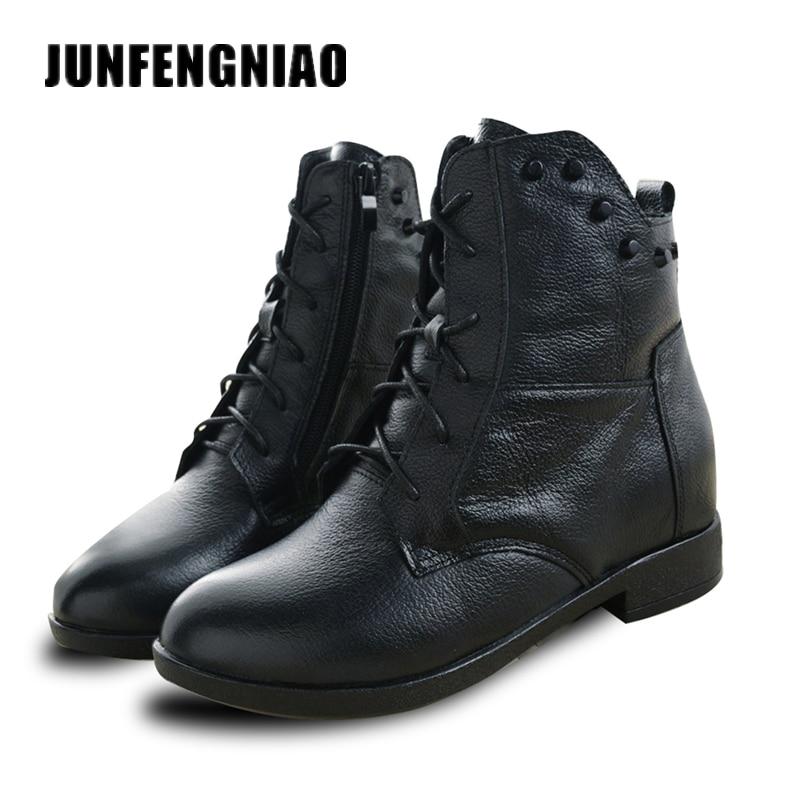 JUNFENGNIAO Nieve Botas Zapatos de Mujer Madre de Las Señoras de Invierno de la Felpa de Piel de Goma de Cuero Genuino Lace Up Pisos Punta Redonda GZXM8812
