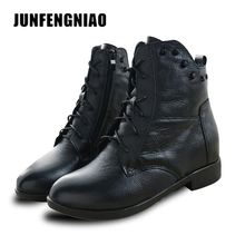 4539621881d2 JUNFENGNIAO Snow Boots Women s Shoes Mother Ladies Plush Winter Fur Rubber Genuine  Leather Lace Up Flats Round Toe GZXM8812