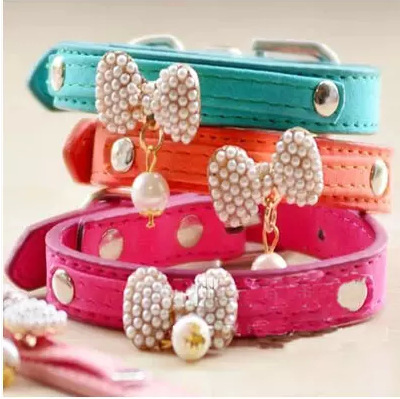 Lovely PU Leather Bowknot Adjustable Leather Dog Puppy Pet Collars Necklace,Collars For Dogs,Cat collar perro,Size S M