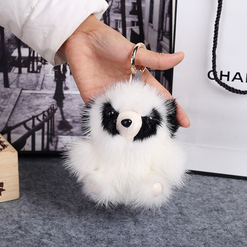 2017 Cute Fluffy Owl Keychain Rex Rabbit Fur Pompoms Key Chain Fur Pom Pom Keychain Bag Charm Car Pendant Key Ring Holder