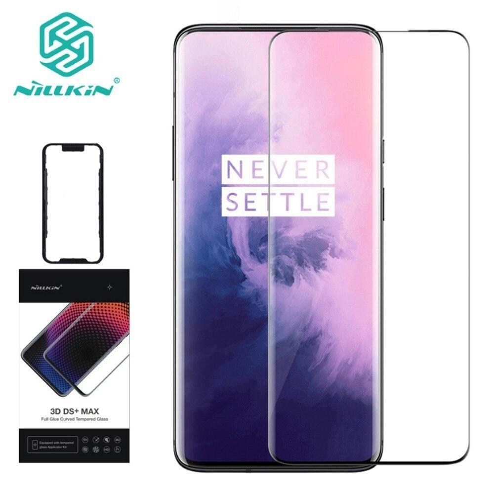 Pour OnePlus 7 Pro protecteur d'écran Nillkin 3D DS + MAX couvercle en verre plein écran pour OnePlus 7 Pro film de protection en verre