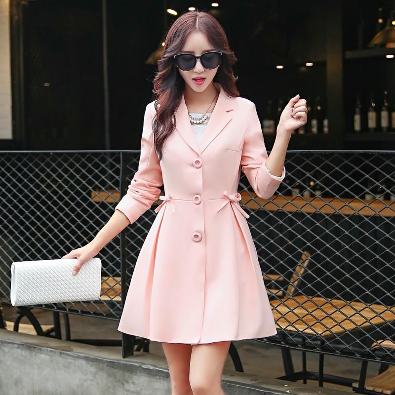 Super Pretty  Elegant Trench Coat Women Windbreaker Ladies Peplum Jacket Pink Grey Green Manteau Femme Silm Long Blazers bbbbb