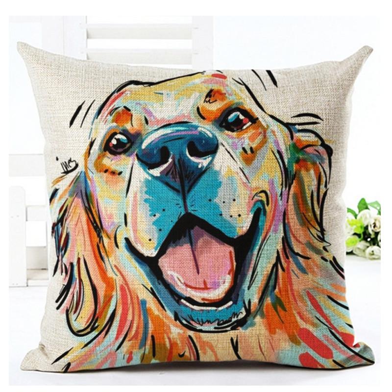 Cartoon Bull Dog Golden Retriever Terrier dachshund Decorative Throw Pillow Covering Sofa Seat Car Cushion Cover Oil Painting