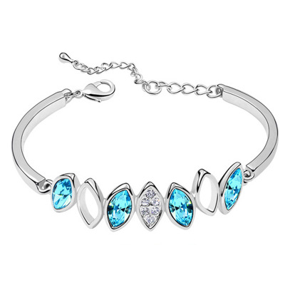 New fashion colorful crystal bracelet tide silver rhinestone high jewelry with female birthday gift