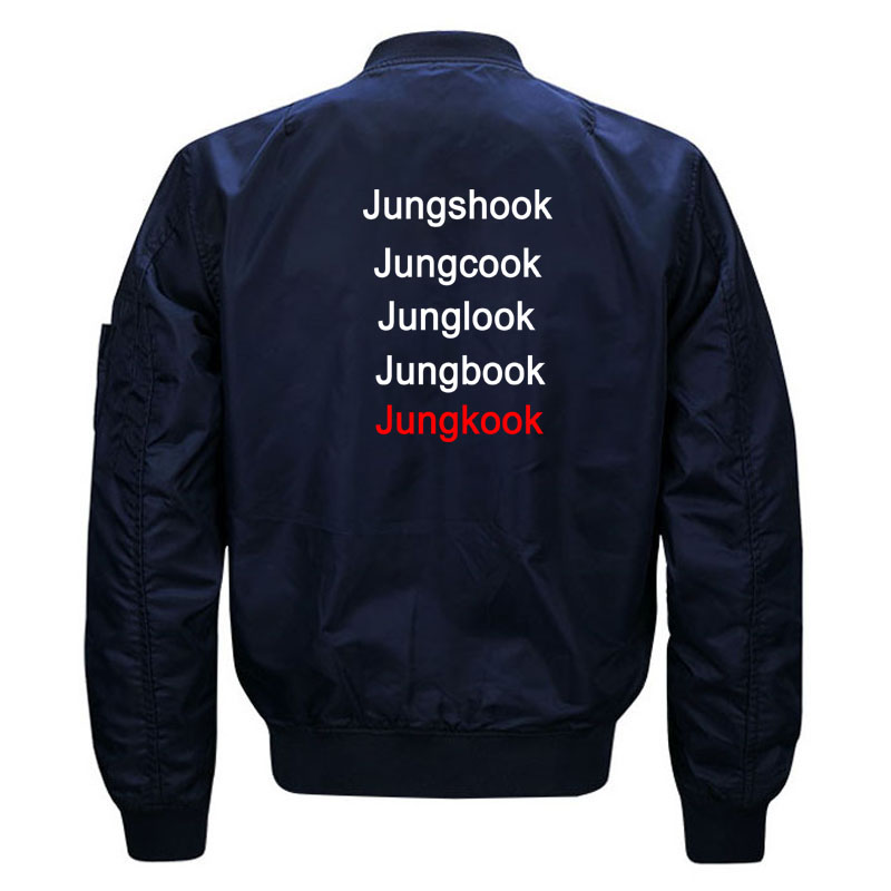 Funny Kpop BTS Jungkook Fans Quilted Bomber Jacket for Women and Men Cute Ladies Korean Band Bangtan Boys Jacket Plus Size S-5XL 3
