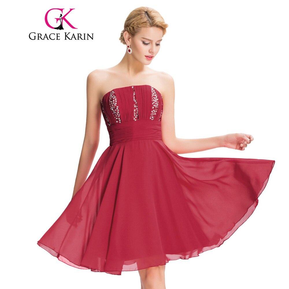 Aliexpresscom  Buy Grace Karin Strapless Red Short Prom -4196