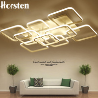 Modern Creative DIY LED Chandelier Lights Aluminum Rectangle Dimmable Ceiling Chandelier Lamp For Living Room Bedroom