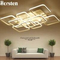 Criativo moderno diy led luzes do candelabro de alumínio retângulo pode ser escurecido lustre teto lâmpada para sala estar quarto luz casa