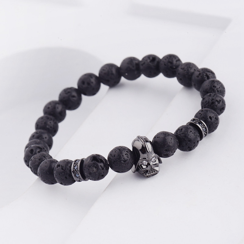 DOUVEI 17 New Charm Mens Star Wars Darth Vader CZ Beaded Bracelets 8mm Bright Black Lava Stone AB1012 13