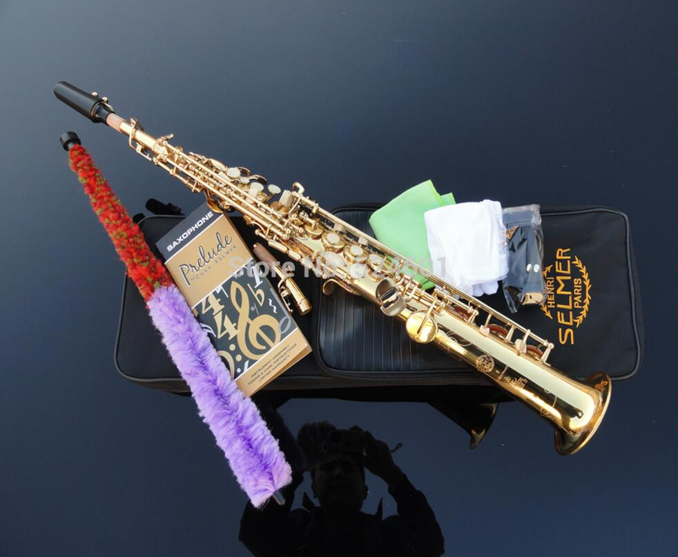 Wholesale Beautiful Golden Straight Soprano Saxophone Saxophone France Henry Reference 54