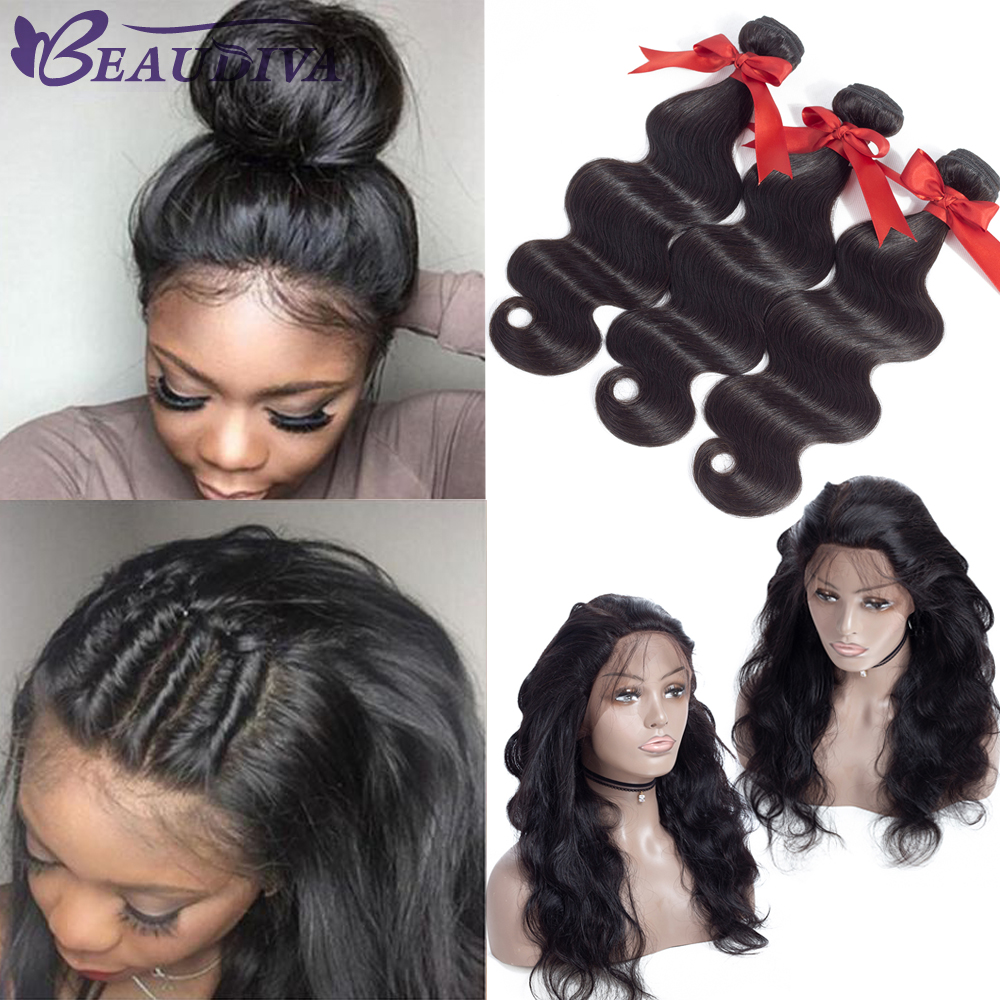 BEAUDIVA Brazilian Human Hair Weave Bundles Body Wave Bundles With 360 Lace Frontal With Bundle None