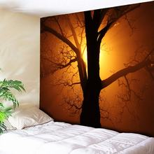Chic Dusk Sunset Trees Printed Wall Tapestry Bohemian Mandala Wall Hanging Art Carpet Blanket Hotel Restaurant Tablecloth 3 Size