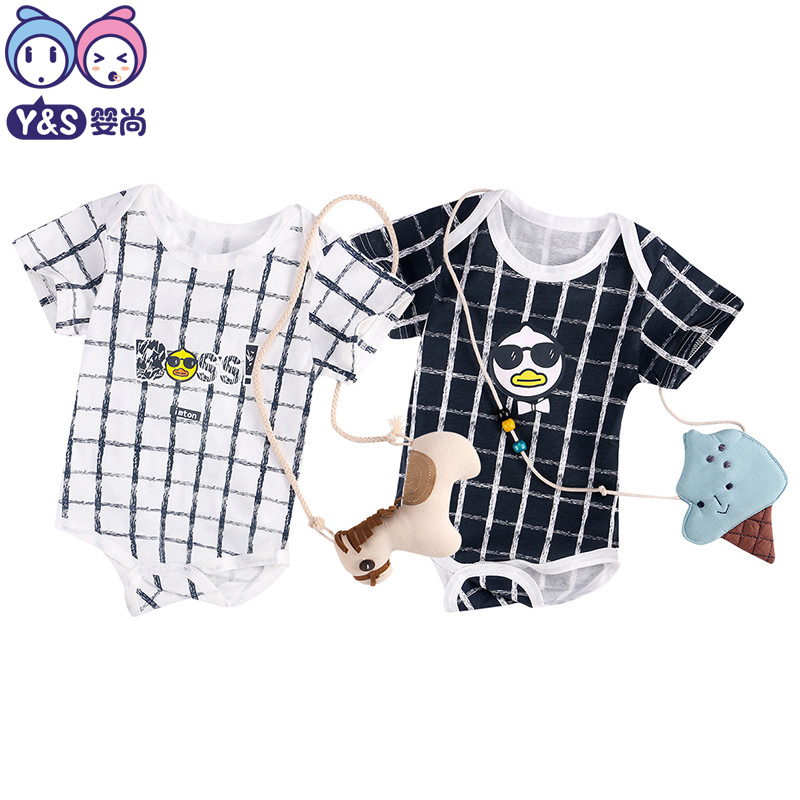 Baby Boys Rompers Summer Cotton Newborn Infant Fashion Cartoon Boss Duck Babies White Black Lattice Onesie Toddle Costume