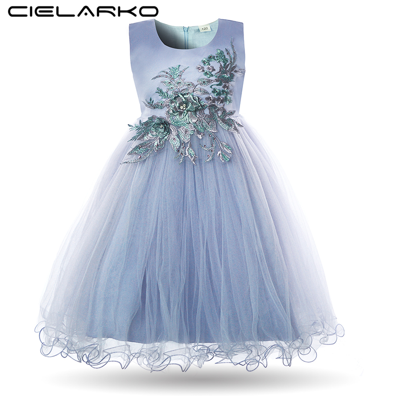 Cielarko Girls Formal Dress Flower Princess Wedding Party Prom Dresses Pageant Kids White Ball Gown Rhinestone Applique Frock цены онлайн