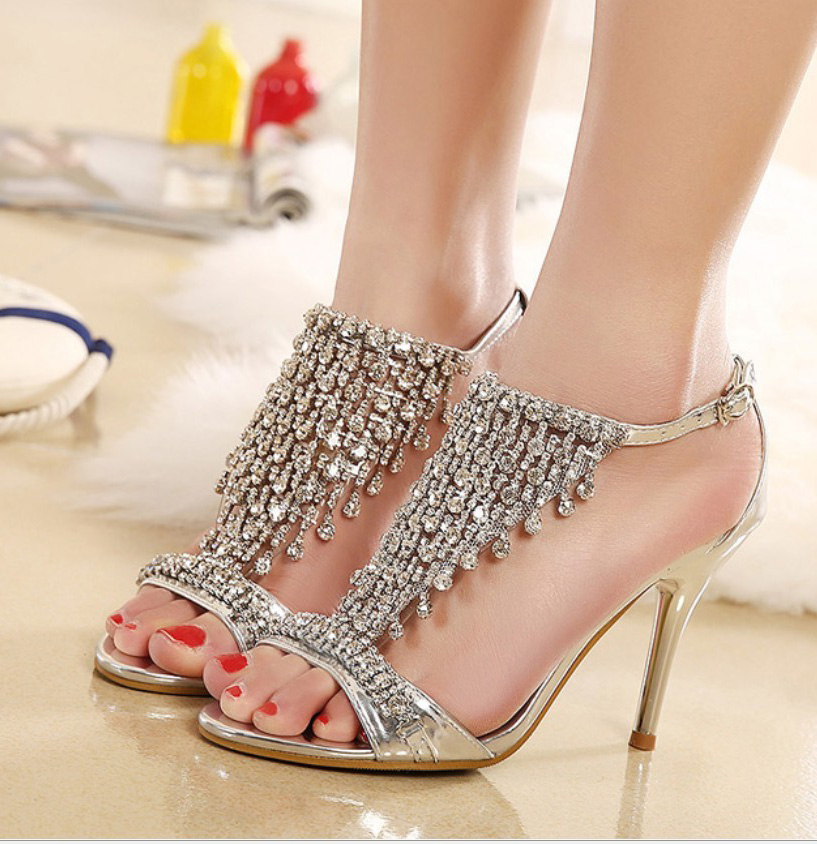 high quality wedding bridal party shoes crystal rhinestone strap ankle strap thin high heel sandal pumps gold silver