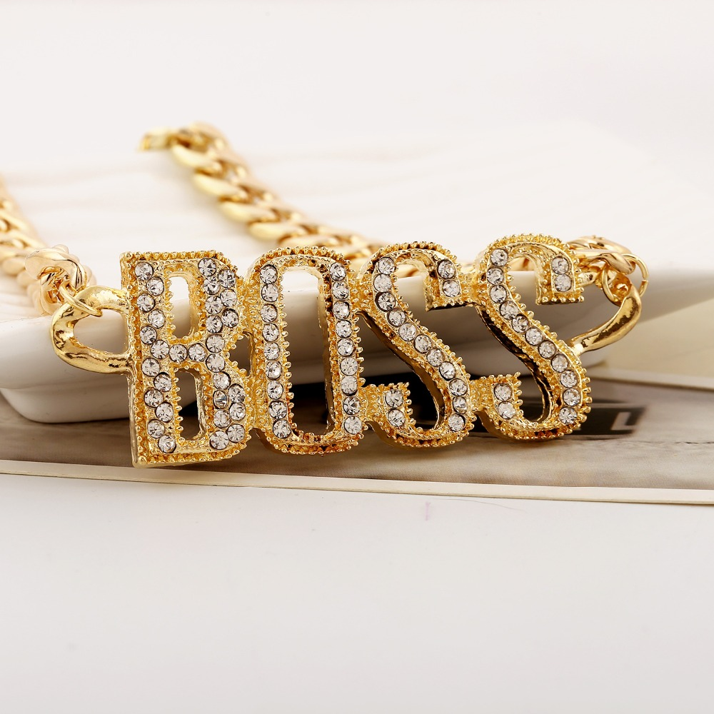 Dropshipping Wholesale Hyperbolic Choker Bangle Jewelry Set Boss Pendant Link Chain Collar Chic Bracelet Necklace Hip Hop Rapper Easy To Repair