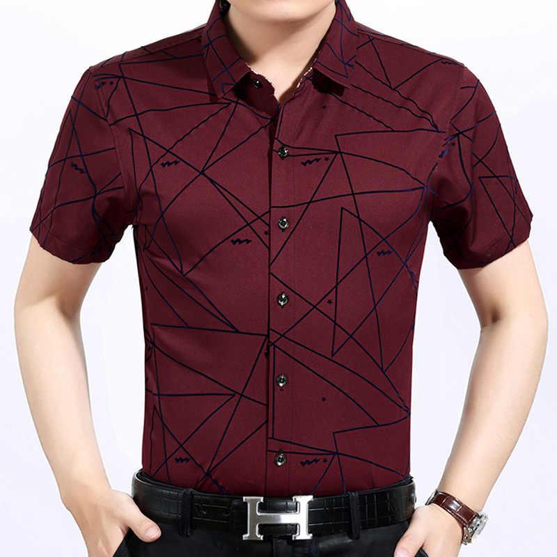 2019 男性ファッションブランドカジュアルビジネススリムフィット男性のシャツカミーサ半袖アーガイル社会シャツドレス服 2238