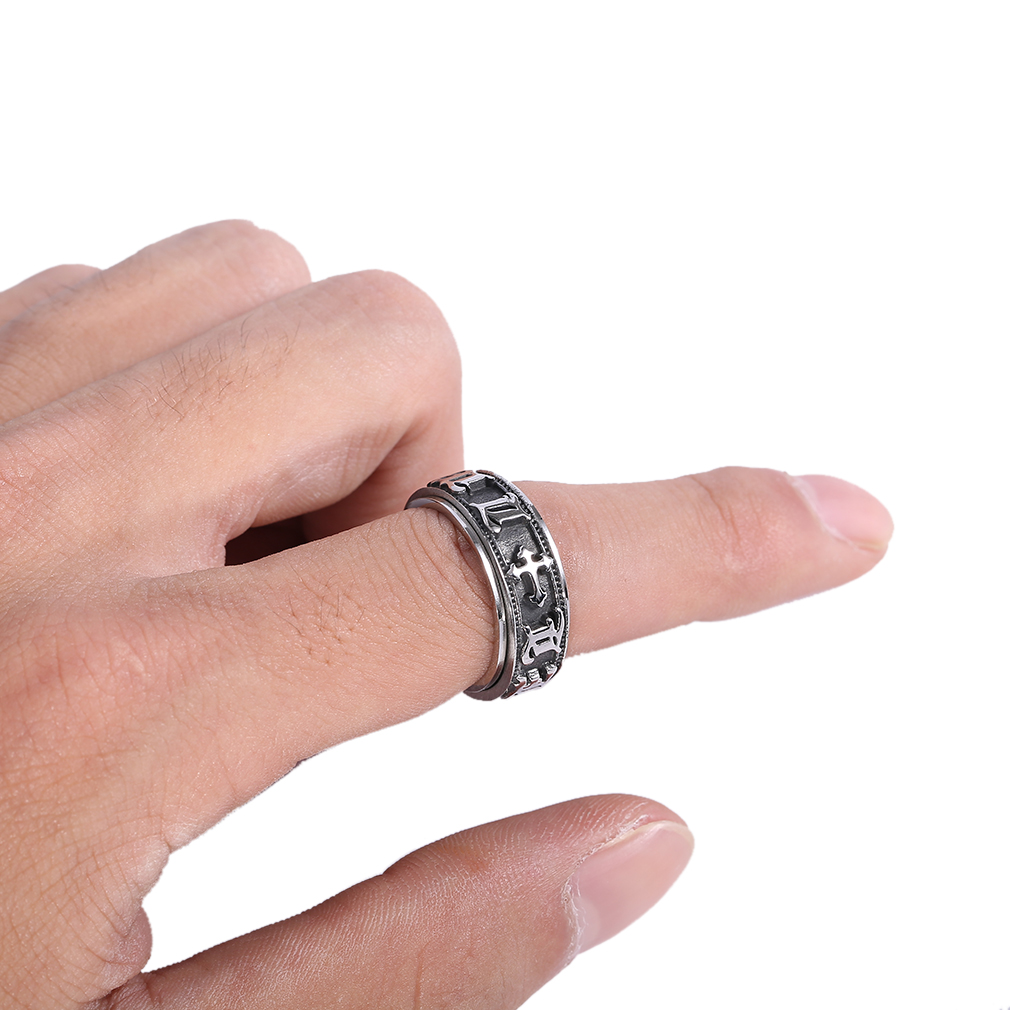High Rotation Mantra Letter Ring Real Titanium Steel Silver Fine ...