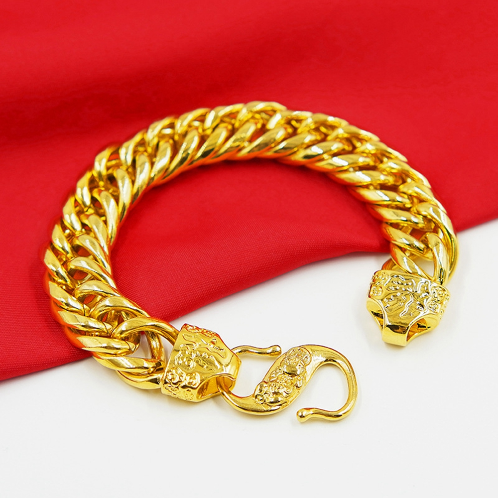 rock style mens bracelet yellow gold filled tight thick