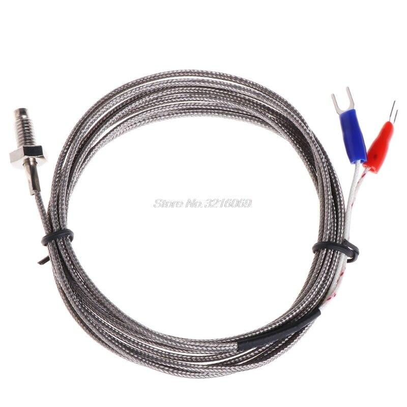 K Type Thermocouple 0-400℃ High Temperature Sensor Wire Cable M8 Thread 150mm Probe 1 M 2 M 3 M 4 M 5 M 4M
